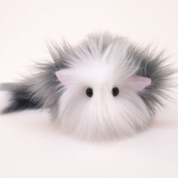 Stuffed Cat Stuffed Animal Cute Plush Toy Cat Kawaii Plushie Buddy the Gray and White Cuddly Snuggly Faux Fur Kitty Cat Small 4x5 Inches