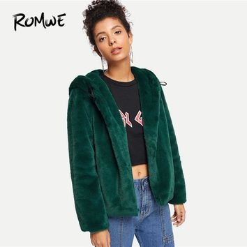 ROMWE Green Solid Single Breasted Hooded Teddy Coat Women Casual Fall Plain Long Sleeve Clothing Jacket Female Outerwear