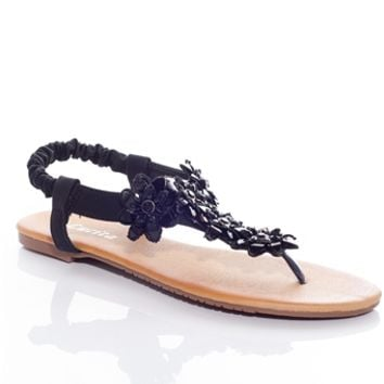 Fanciful Flora Thong Sandals - Black