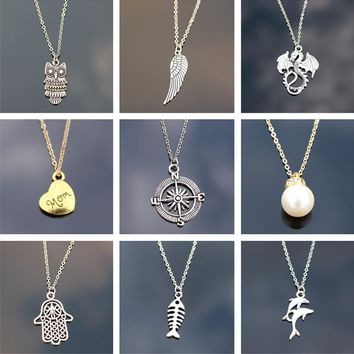Necklaces Chain Link Cross Heart Owl Elephant Tree Leaf Pendant Necklace Mix Design For Women Girl Gift Fashion Jewelry 2018