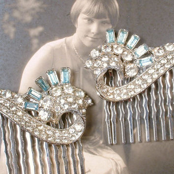 PAIR Aqua Blue Art Deco Rhinestone Bridal Hair Combs, Great Gatsby Pave Fur Clips to OOAK Accessory 1920s Flapper Vintage Wedding Hairpiece