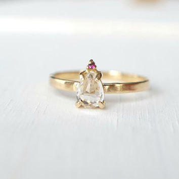 White Topaz Ring, Ruby Ring, 14k Gold Ring, Stacking Ring, Pear Ring, Prong Ring, Two Stone Ring, Engagement Ring, Cocktail Ring, Rose Cut