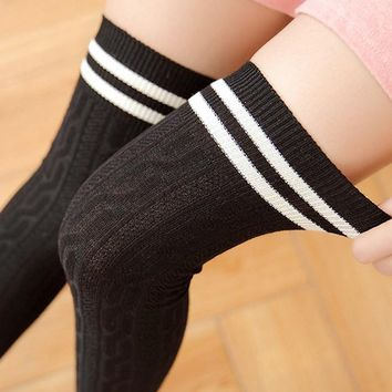 College Women Stockings Winter Long Socks Striped Over Knee Socks Girls Thigh Highs Warm Knitted Stockings Meia Longa