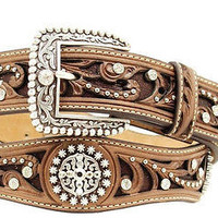 Ariat Women's Western Scallop Rhinestone Brown Leather Belt