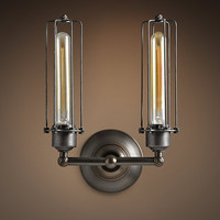 Edison Caged Double Sconce Gunmetal