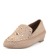 Studded Leather Loafer, Cuoio