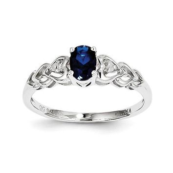 Sterling Silver Oval Created Blue Sapphire & Diamond Accents Hearts Ring