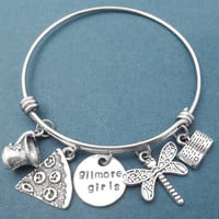 Gilmore girls, Luke's, Coffee, Mug, Coffee, Cup, Dragonfly, Rory's book, Frozen, Pizza, Silver, Bangle, Bracelet, Gift, Accessory, Jewelry