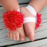 Baby Barefoot Sandals .. Red Flower with White Polka Dots .. Toddler Sandals .. Newborn Sandals