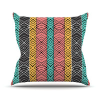 "Pom Graphic Design ""Artisian"" Pink Teal Throw Pillow"