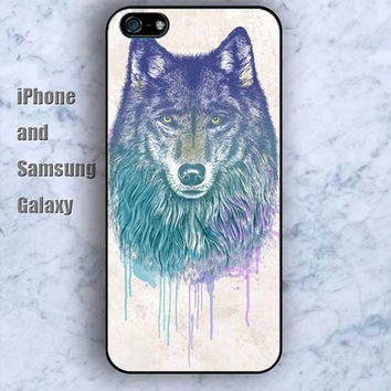 Watercolor Wolf colorful iPhone 5/5S case Ipod Silicone plastic Phone cover Waterproof