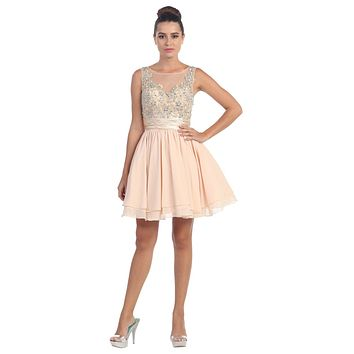 Short Bateau Neck Champagne Dress Chiffon A Line Illusion
