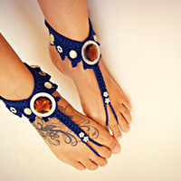 Navy blue crochet BAREFOOT sandals barefoot sandles hippie beaded anklets,  bohemian anklet jewelry, foot thongs, bottomless shoes