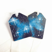 Wooden Tags, Hand Painted Galaxy Gift Tags, Blue Nebulas and Stars, White Ribbon