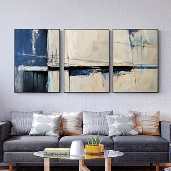 Abstract Seascape Blue Color Creative Canvas Paintings Art Wall Pictures For Living Room For Sofa Home Decor Posters And Prints