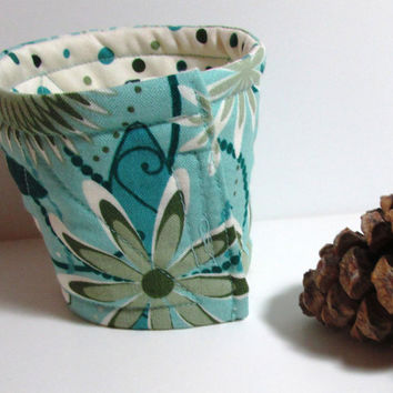 Fabric Cup Cozy Teal Polka Dot, Floral reversible cotton, coffee sleeve