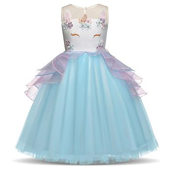 3 8T Years Fancy Baby Girl Fairy Blue Unicorn Dresses for Girls Costume Girl Kids Birthday Party Tutu Dress  Unicornio Infantil