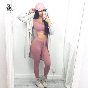 cotton two pieces set women club wear clothing  sexy crop tops and pencil pants long sleeve two pieces outfits