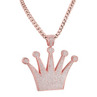Designer King Crown Pendant 14k Rose Gold Finish with free Franco Necklace