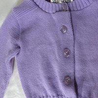Vintage 70s Sweater Lavender Baby 12 to 24 Months Acrylic Knit Cardigan Preppy Rockabilly Unisex Toddler