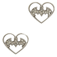 DC Comics Batman Heart Bling Earrings