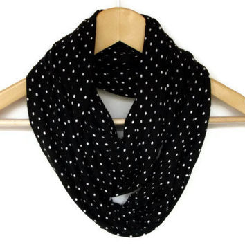 Cotton Jersey Knit Fabric infinity Scarf with White Polka Dots, infinity Scaft Soft Circle Scarf, Women Accessories
