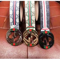 GUCCI New Fashion More Letter Stripe Leather Women Men Belt