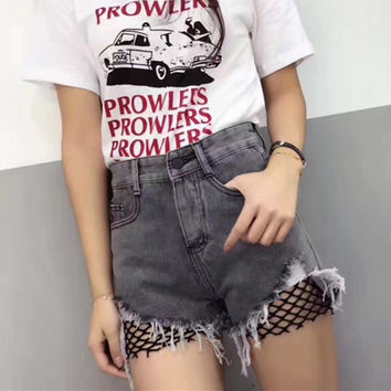 All-match Fashion Worn Ripped Tassel Edge Stitching Hollow Net Denim Shorts Jeans Hot Pants