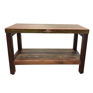 Ala Teak Wood Patio Garden Indoor Outdoor Vintage Looking Yard Coffee Side Table Bench Stool Waterproof Bath Spa Shower Shelf Storage Easy Assemble