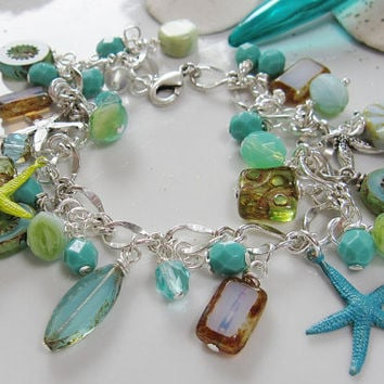 Starfish Sea Garden Bracelet - Green Teal Starfish Czech Beads - Mothers Day - Spring Glam