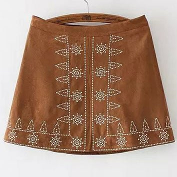 Khaki Tribal Embroidered Mini A-Line Skirt