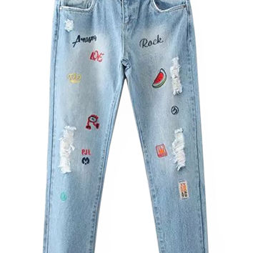 Blue Light Wash Patterned Letter Ripped Jeans