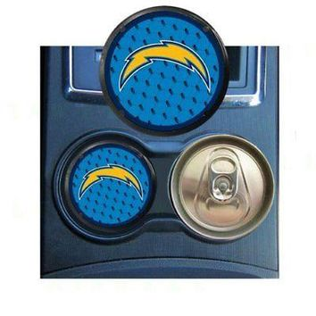 Licensed Official New 2pc NFL San Diego Chargers Car Truck Van Coaster Cup Holder Air Freshener