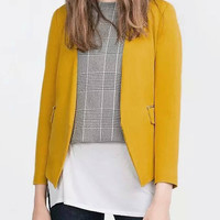 Yellow Blazer With Zipper Details