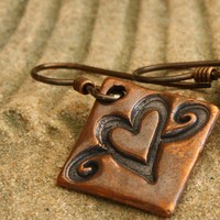 Heart Earrings With Swirls, Copper With Niobium Earwires, Handmade