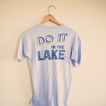 80's Do it in the Lake Arizona  Vintage Tee  T-shirt Blue Men's Small Medium  Classic Old School