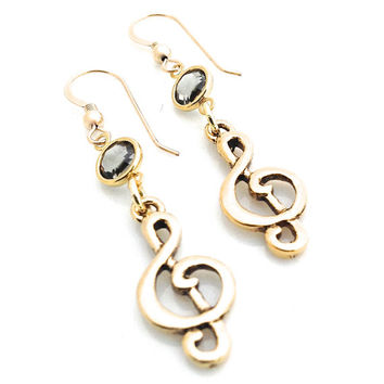 Music Earrings, Music Note Jewelry, Treble Clef Earring, Music Lover Gift, Gold Dangle, Musical