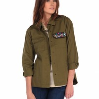 Vintage Havana Military Jacket - Army Green