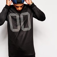 ASOS Super Longline Sweatshirt With Number Print & Mesh Overlay at asos.com