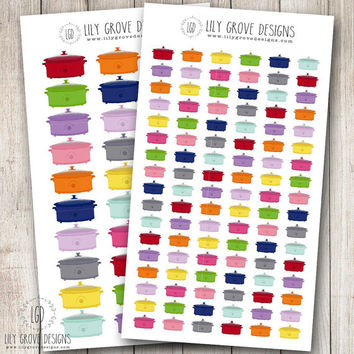 Crockpot Planner Stickers, Crock Pot Cooking Dinner Meal Plan - Perfect for Erin Condren, Limelife, Mambi and Plum Paper Planners