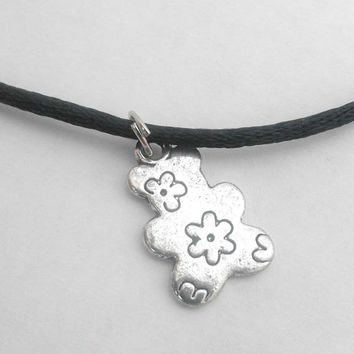 Silver Plated Teddy Bear Shape Double Sided Charm with Flower On Choker Necklace