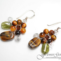 Tiger Eye Earrings Flower Shape Silver Earring Gem Stone Silver Chandelier Earrings Handmade by Flower GemStone