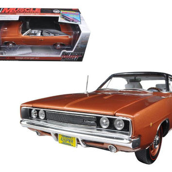 "1968 Dodge Charger R-T Bronze Poly with Black Vinyl Top ""Hemmings Muscle Magazine"" Limited Edition to 1002pc 1-18 Diecast Model Car by Autoworld"