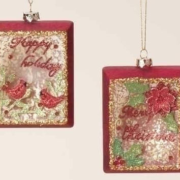 6 Christmas Ornaments - Red Cardinal And Poinsettia Rectangle
