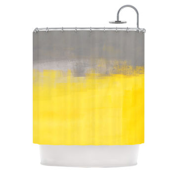 "CarolLynn Tice ""A Simple Abstract"" Yellow Gray Shower Curtain"