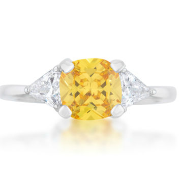 Shonda Three Stone Classic Canary Yellow Ring | 2ct | Cubic Zirconia