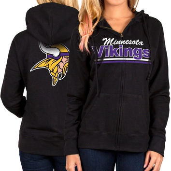 Minnesota Vikings Women's Full Zip Hoodie – Black