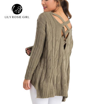 Elegant Twist Weave Cross Over Backless Knitted Sweater Women Autumn Winter Basic Pull Femme Casual V Neck Pullovers Jumpers