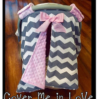 Grey chevron and pink minky Car seat canopy with velcro straps and bow