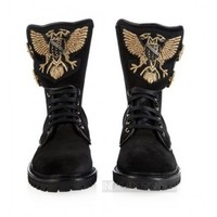Indie Designs Balmain Inspired Eagle Ranger Embroidered Suede Boots